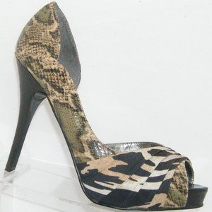 Guess Hedley multi-colored snake print heels 9M